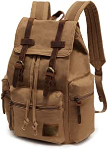 "High Capacity Canvas Vintage Backpack - for School Hiking Travel 12-15.6"" Laptop (Khaki)"