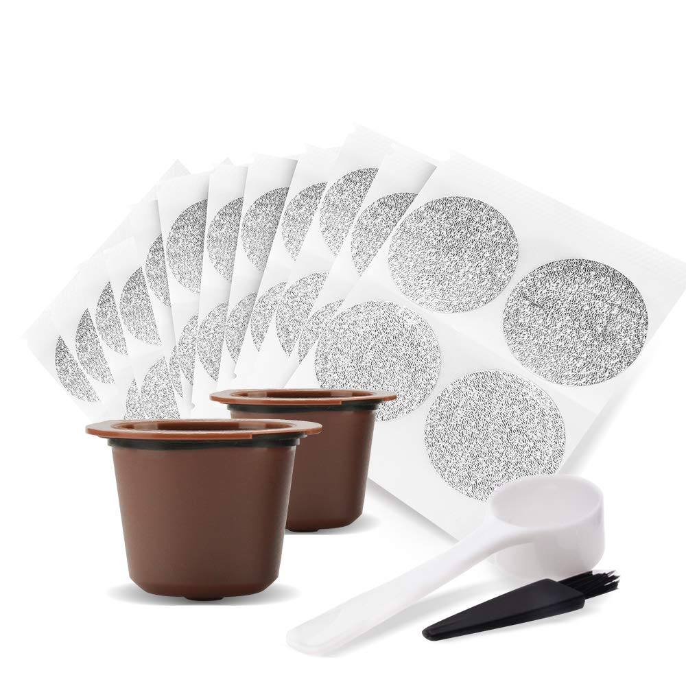 50 Pack MG Coffee Self Adhesive Lids Aluminum Seals stickers for Nespresso Capsules and 2 Pack Reusable Capsules for Nespresso Original Coffee Machine