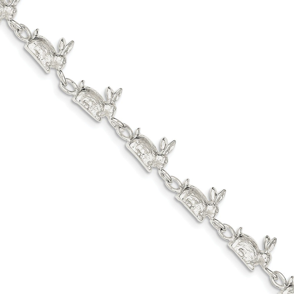 Sterling Silver Solid Polished Open back Lobster Claw Closure Rabbits Bracelet - 7 Inch - Lobster Claw