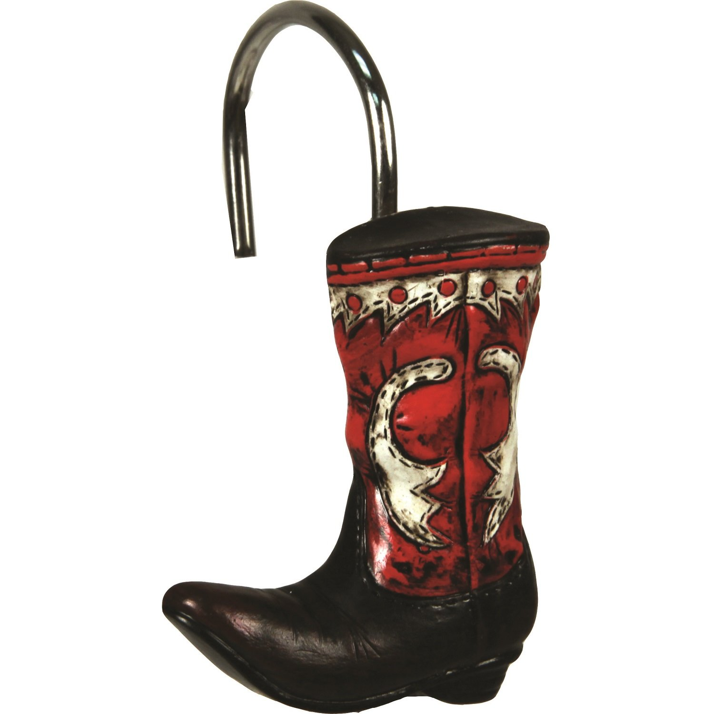 Amazon.com : River\'s Edge Cowboy Boot Shower Curtain Hook Set ...