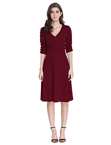 Sue&Joe Women's 3/4 Sleeve Dress Ruched Waist Classy V-Neck Casual Cocktail Dress
