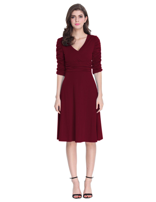 Sue&Joe Women's 3/4 Sleeve Dress Ruched Waist Classy V-Neck Casual Cocktail Dress, Burgundy, TagsizeL=USsize6-8