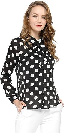 Allegra K Blusa Cuello con Corbata Camisa De Lunares con Botones para Mujer: Amazon.es: Ropa y accesorios