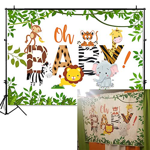 Mehofoto Jungle Safari Baby Shower Backdrop Oh Baby Photography Background 7x5ft Vinyl Animals Baby Shower Backdrops -