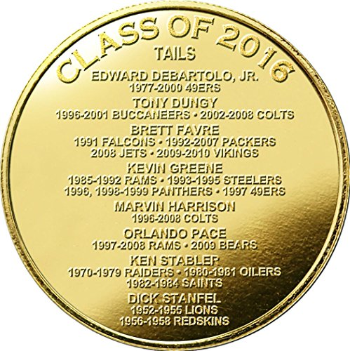 (NFL Green Bay Packers Brett Favre 2016 Pro Football HOF Induction Gold Coin Etched Acrylic Desktop, Brown)