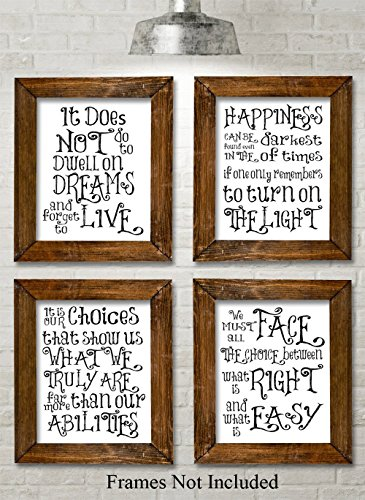 Harry Potter Quotes and Sayings Art Prints – Set of Four Photos (8×10) Unframed – Great Gift for Harry Potter Fans