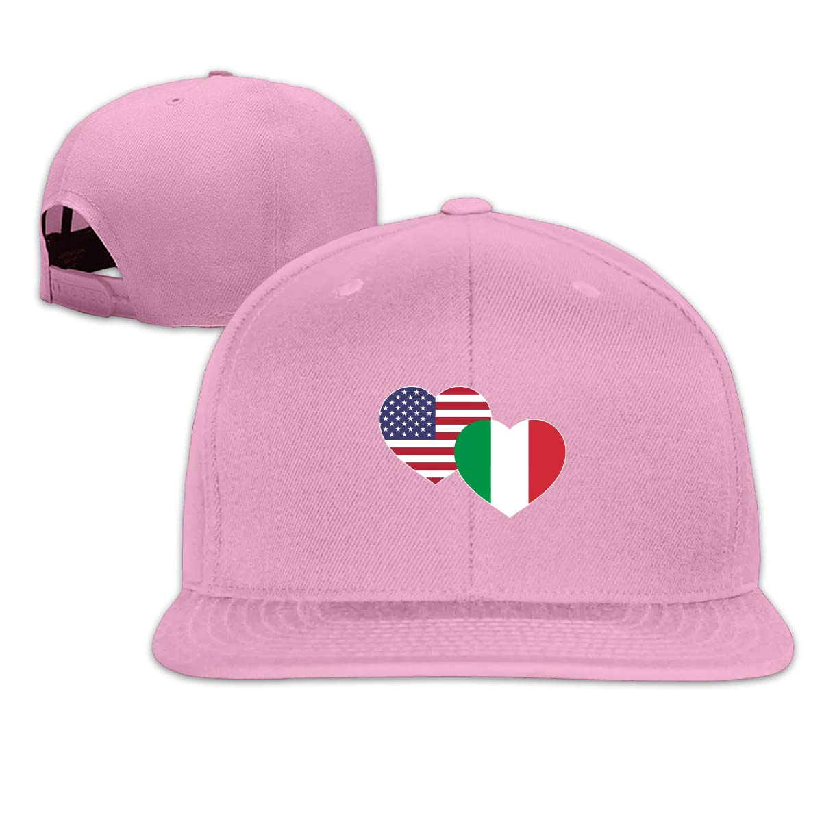 MOCSTONE Unisex Snapback Hat US Italian Flag Heart Adjustable Baseball Cap