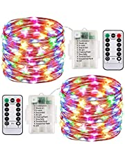 2 Pack LED Fairy Battery Operated String Lights Waterproof 8 Modes 100 LED 33ft with Remote and Timer Firefly Lights (MultiColor)