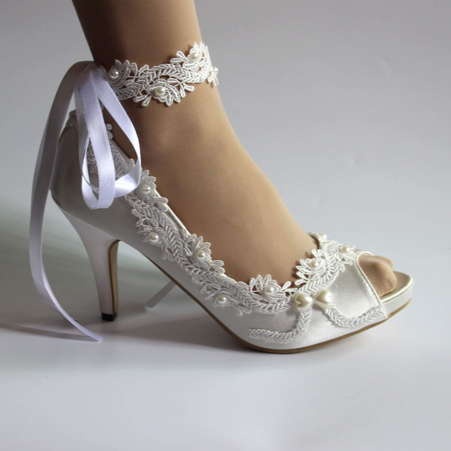 Amazon Com Women S Wedding Shoes White Ivory Lace Pearls Peep Toe