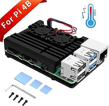 GeeekPi Raspberry Pi 4B Cajas con Doble Ventilador, Raspberry Pi ...