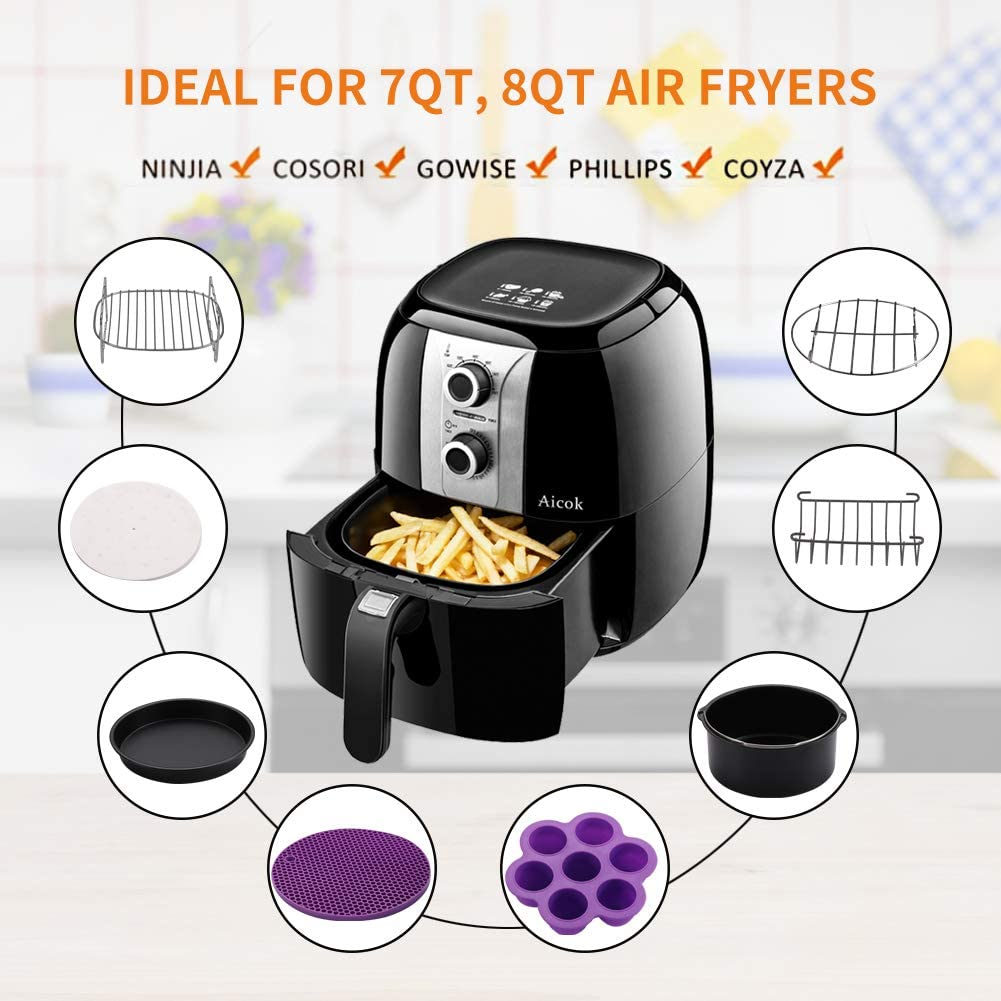 Set of 10 Pcs for Gowise Phillips Cozyna Airfryer XL 3.8QT-5.8QT XL Air Fryer Accessories 8 Inch