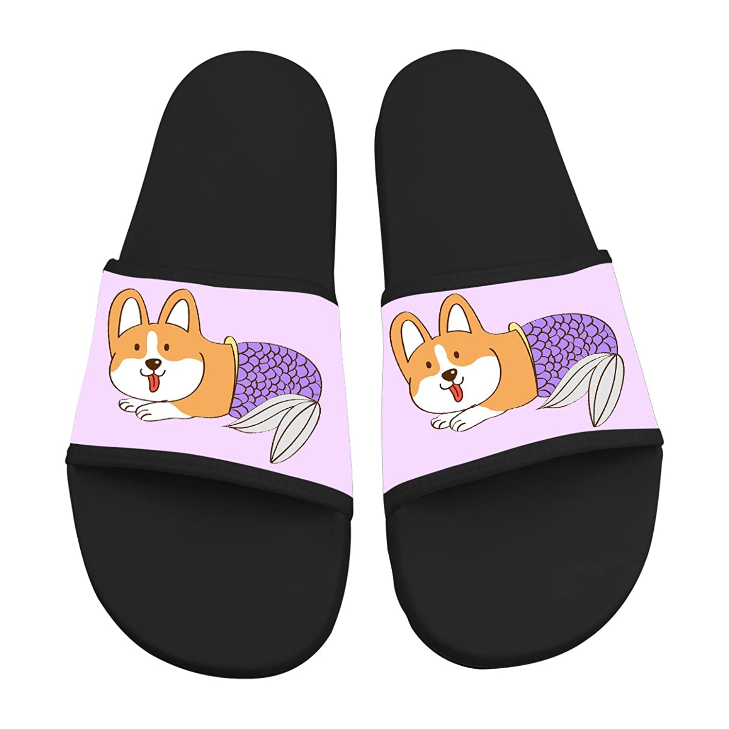7e27b4995d4be Corgi Series Comic Mermaid Dog Casual Slippers Indoor Shower Shoes Outdoor  Walking Flat Sandals durable modeling