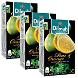 Dilmah Pear and Orange Flavored Ceylon Black Tea - 20 Tea Bags X 3 Pack - Sri Lanka Ceylon Dilmah Pear Orange Tea Real Tea