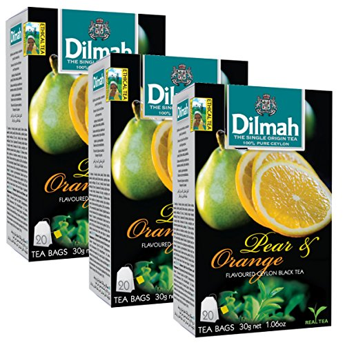 Dilmah Pear and Orange Flavored Ceylon Black Tea - 20 Tea Bags X 3 Pack - Sri Lanka Ceylon Dilmah Pear Orange Tea Real Tea by Dilmah