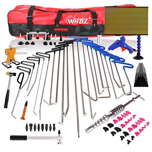 WHDZ 86PCS Paintless Dent Repair Tool Pdr Rods Kit with Slider Hammer Dent Lifter Bridge Puller Set LED Line Board for Pop a Dent Tail Slider Set
