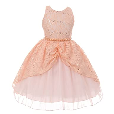 455e76665 Amazon.com: Chic Baby Little Girls Peach Lace Sequins Pearl Flower ...
