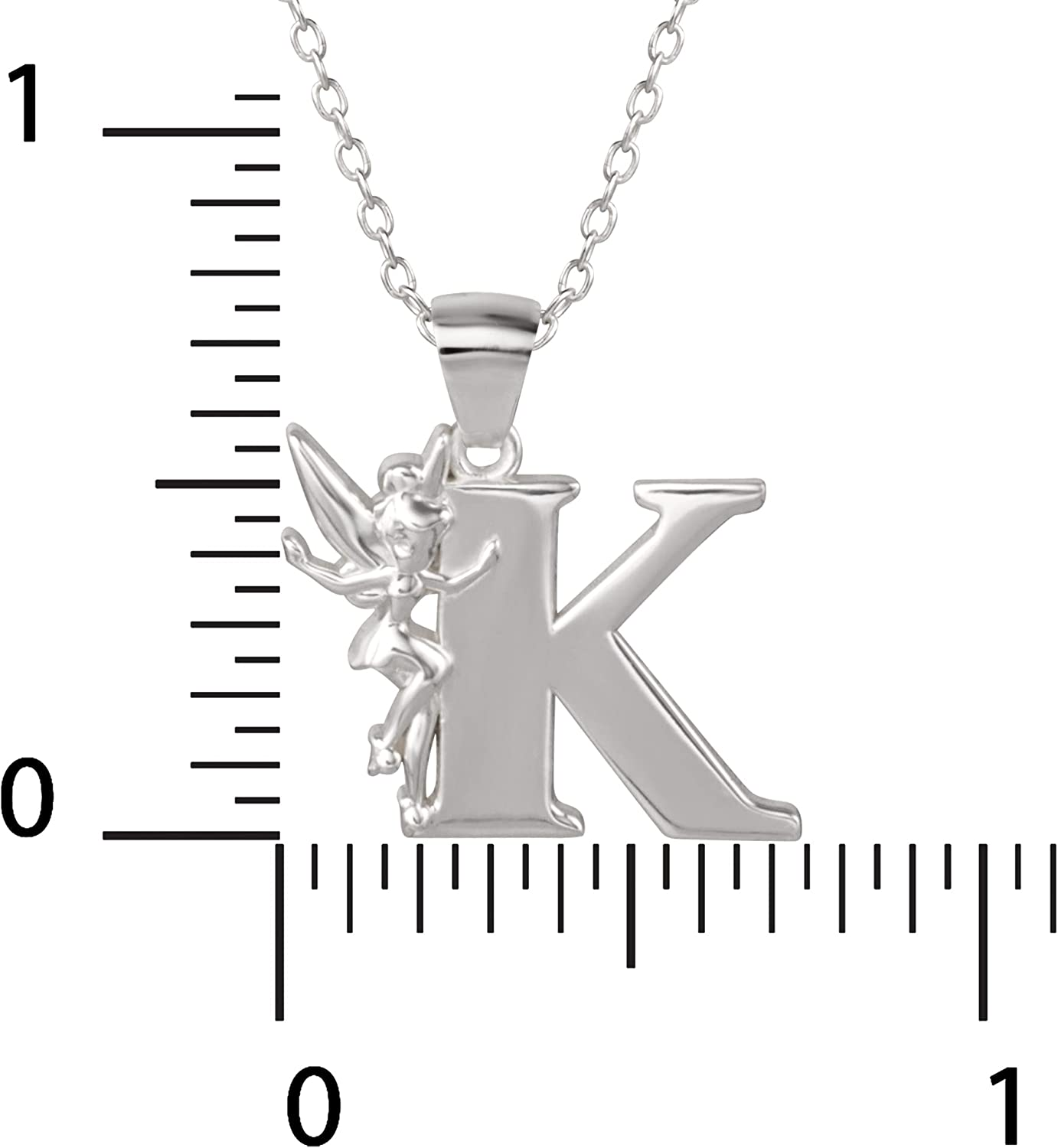 """Disney """"Tinkerbell"""" K Initial Silver Pendant Necklace: Jewelry"""