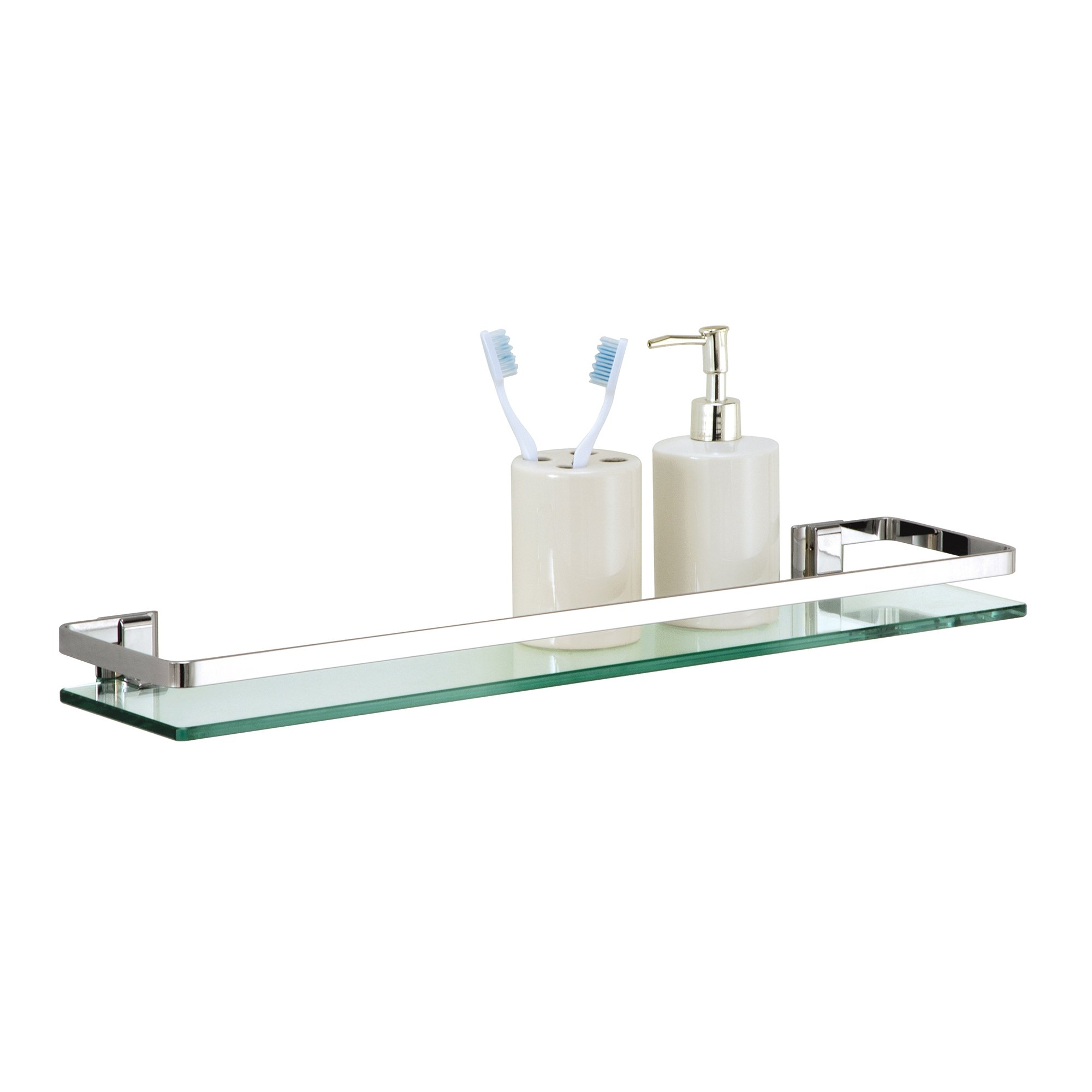 Organize It All Wall Mounting Bathroom Glass Shelf with Chrome Finish and Rail