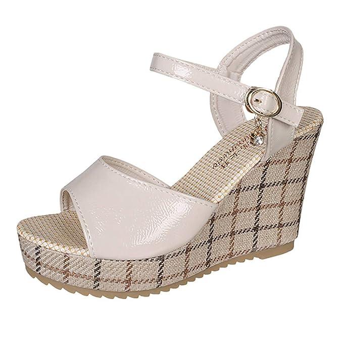 Kinlene Sandalias Zapatillas Zapatos de tacón Sandalias con cuña para Mujer Zapatos de tacón Alto con Hebilla de Esponja de Suela Gruesa: Amazon.es: Ropa y ...