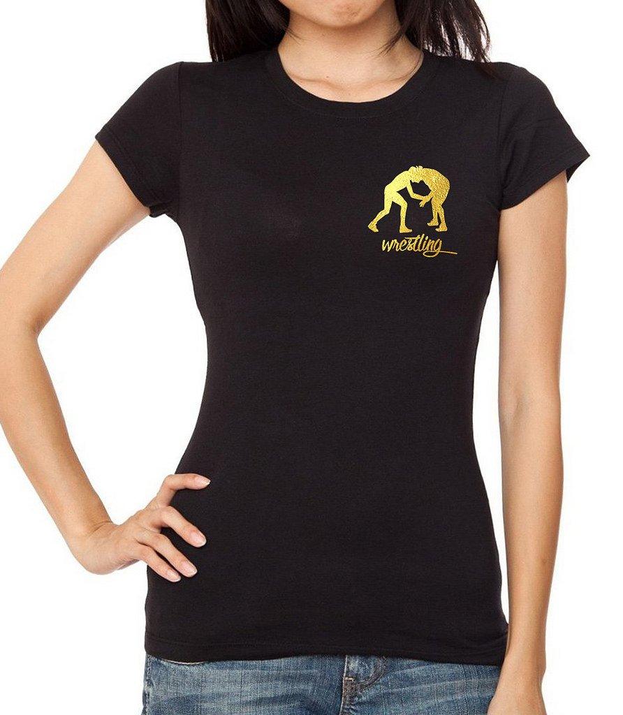 Junior's Gold Foil Wrestling Emblem Black T-Shirt Large Black by Interstate Apparel Inc
