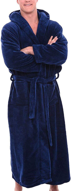 Warm Bath Robe Mens Winter Plush Lengthened Shawl Bathrobe Home Clothes Long Sleeved Robe Coat Bathrobe Red