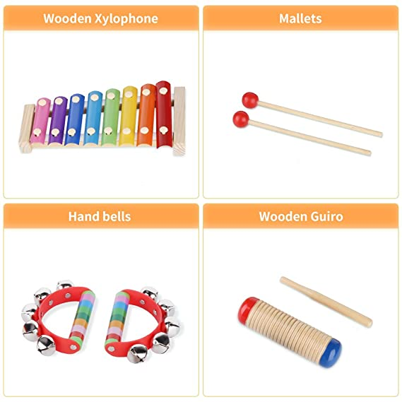amazon com yissvic kids musical instruments 8pcs xylophone tambourine set preschool educational toy with carrying bag toys games