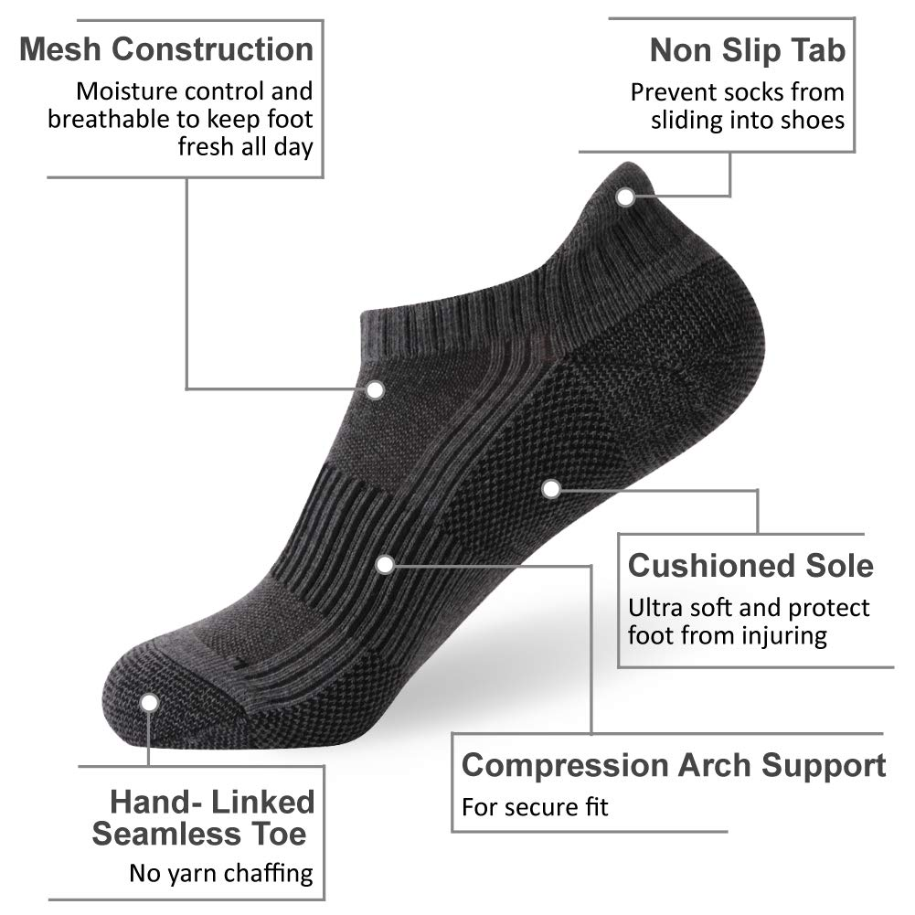 Copper Socks FOOTPLUS Unisex Cushioned Sole Arch Support Athletic Ankle//Crew Performance Running Hiking Socks
