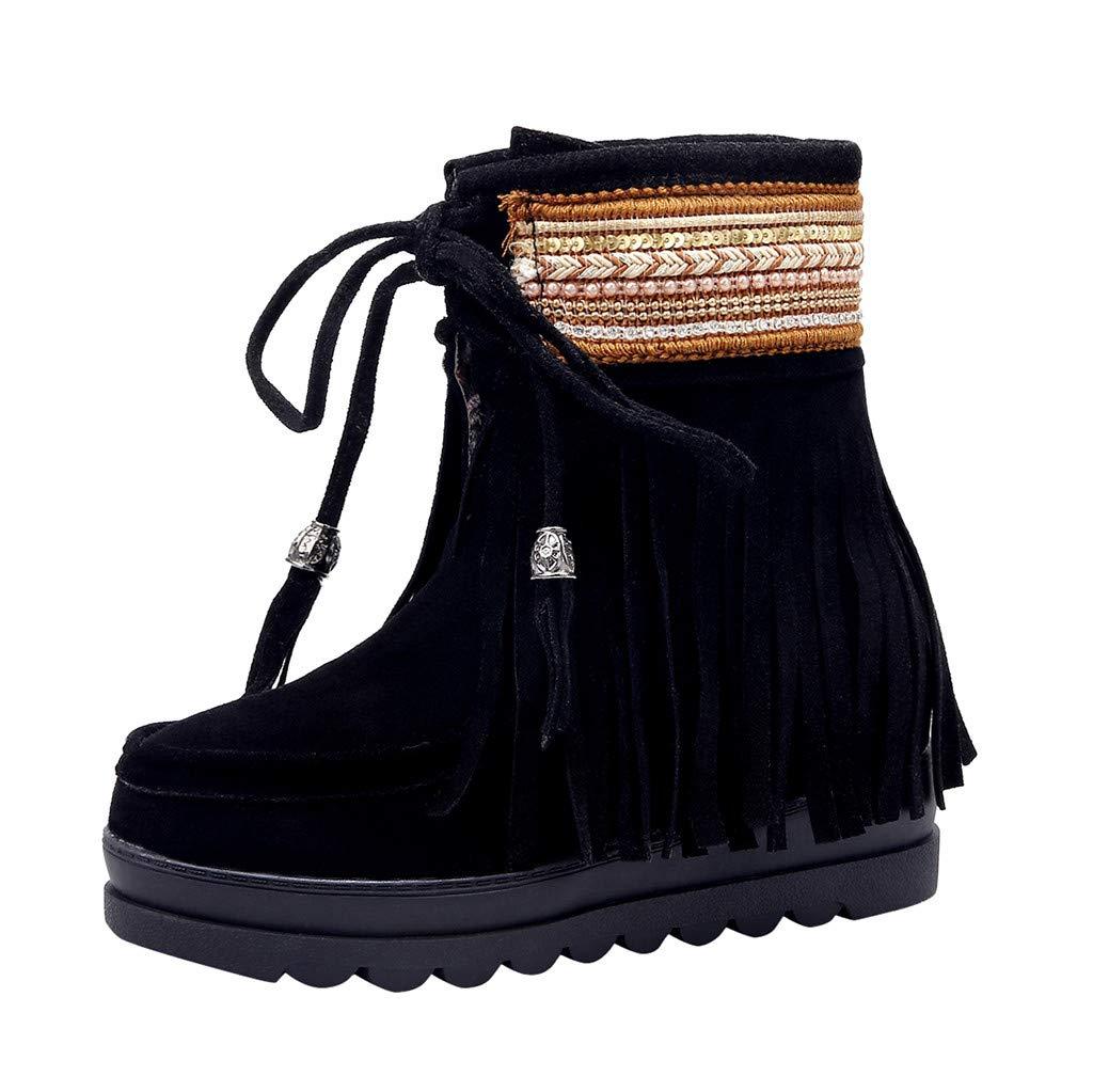 Kauneus Ethnic Shoes for Womens Bohemian Tassel Lace Up Ankle Boot Faux Suede Thick Bottom Platform Mid Calf Boots Black by Kauneus Fashion Shoes