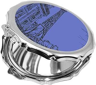 مرآة جيب، بتصميم رسم تجريدي لباريس بألوان مختلفة ، شكل دائري