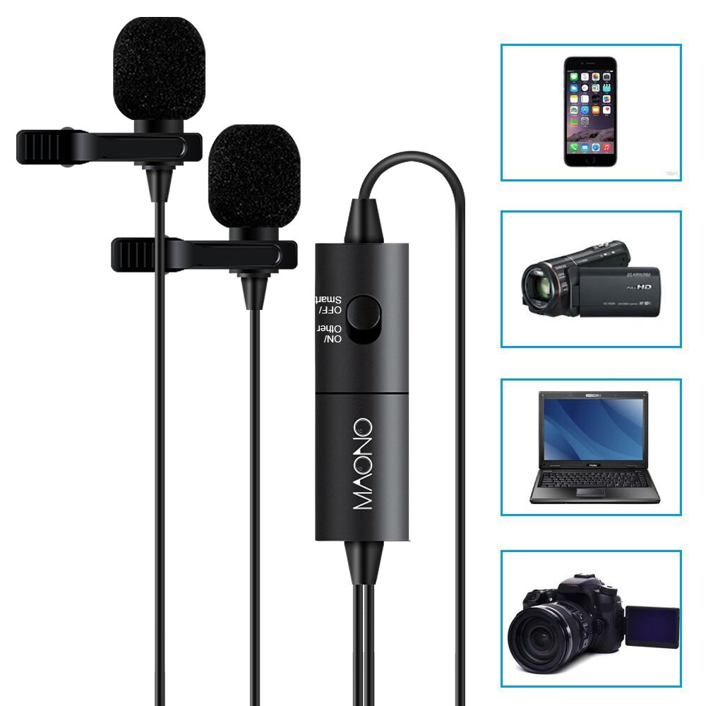 Dual Lavalier Microphones, MAONO AU200 Hands Free Clip-on Lapel Mic with Omnidirectional Condenser for Camera,DSLR,iPhone,Android,Samsung,Sony,PC,Laptop (236in/20ft)