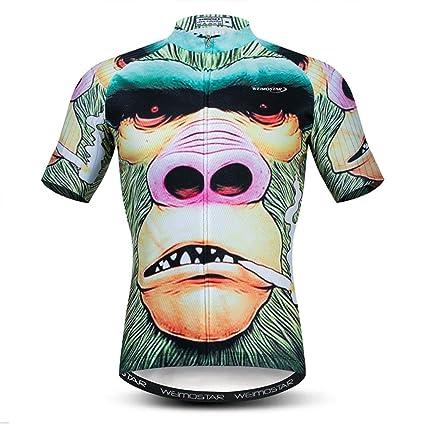 Hombres Monster Cartoon Cycling Jersey Camisa de Secado ...