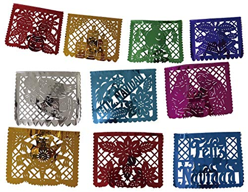 Mexican Papel Picado Xmas Banner - Metallic Plastic 16 ft Handcrafted Christmas Decoration Multicolored - 10 Individuals Panel Party Supplies For Weddings, Birthdays, Quinceaneras, & Holidays