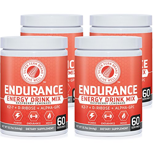 Silver Fern Brand Endurance - Pre Workout Energy Drink Mix Supplement Powder - Raspberry Lemonade - 4 Tubs = 240 Svgs - Boost Power, Energy & Mood - With D-Ribose, Alpha-GPC, Vitamin K2-7 & More (Nitric Blast)