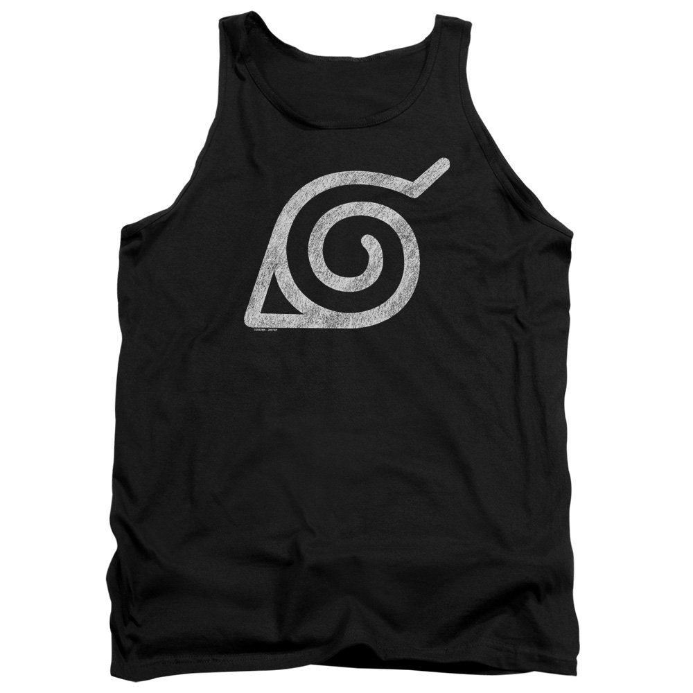 Naruto Shippuden Distressed Leaves Symbol Unisex Adult Tank Top for Men and Women NARU115B-TK