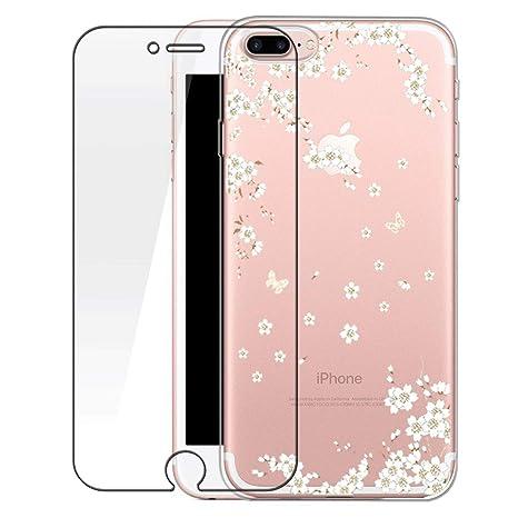Bestsky Funda iPhone 7 Plus/8 Plus Carcasa Transparente Silicona con Protectores de PantallaUltra Delgado TPU Cover Anti-Choque Anti-Arañazos Case ...