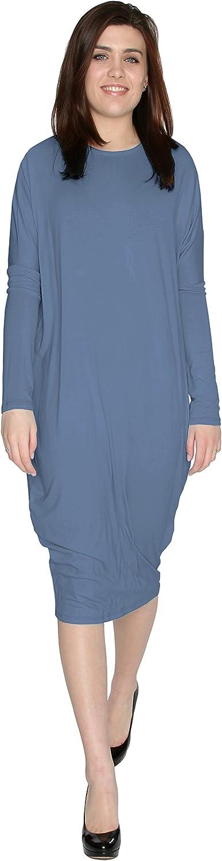 BabyO Womens Long Sleeve Comfy Cover-Up Midi Dress