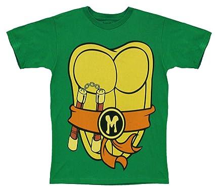 08060aa0b4e Mighty Fine TMNT Teenage Mutant Ninja Turtles Michelangelo Costume Green T-sh...   Amazon.co.uk  Clothing