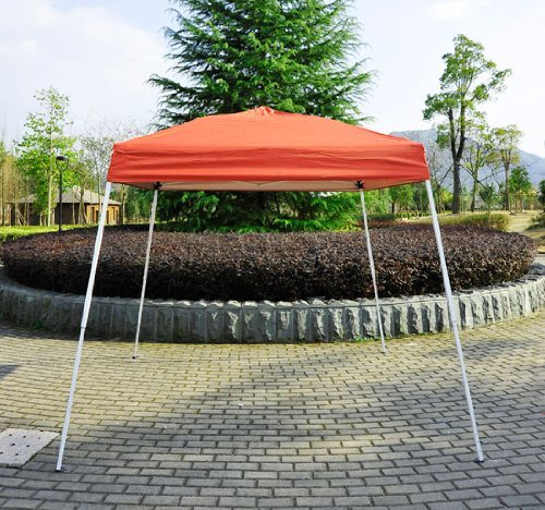 Outsunny 8' x 8' Slant Leg Easy Pop-Up Canopy Party Tent - Rust Red