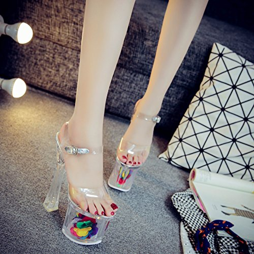 Xing Lin Zapatos De Verano Para Las Mujeres Cuñas Señor Crystal Clear 18Cm/20Cm Ultra-Alta Con Taiwán Impermeable Grueso Con Noche De Alta-Heel Shoes Sandalias De Mujer Transparent white 20 cm