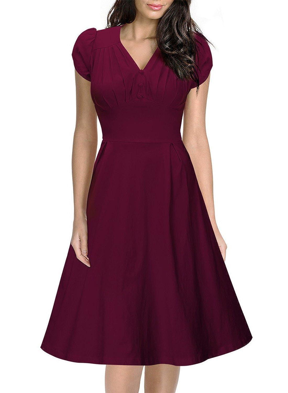 Miusol® Damen Kurzärmel Sommerkleid V-Ausschnitt Business Faltenrock Cocktailkleid retro 50er Jahre Kleid Blau Größe 36-48