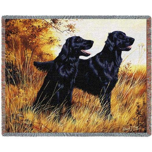 Pure Country Weavers - Flat-Coated Retriever Woven Tapestry Throw Blanket with Fringe USA Size 72 x 54 (Blanket Throw Afghan Tapestry Dog)