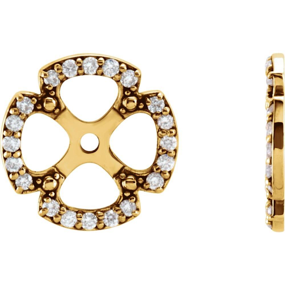 STU001- 14K Yellow 1/5 CTW Diamond Earring Jackets by STU001-