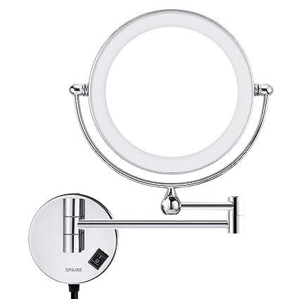 Specchio Ingranditore Da Bagno.Specchio Da Bagno Led 5x Ingrandimento Normale Double Sided Ingrandimento Specchio Per Doccia Specchio Ingranditore Luminoso Bagno Con Rotazione 360