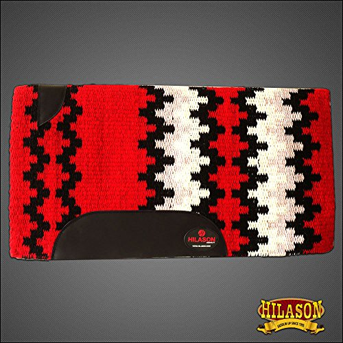 HILASON Western New Zealand Wool Horse Saddle Blanket RED Black White