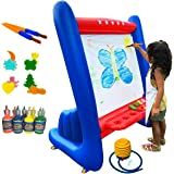 SHANI Heavy-Duty Vinyl Inflatable Indoor and Outdoor Easel for Kids with Paints, Sponges, Paintbrush, air Pump, Apron and Bui