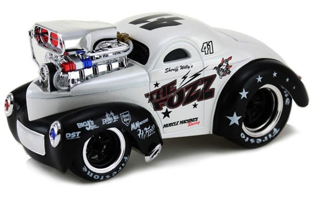 NEW 1:24 DISPLAY MAISTO MUSCLE MACHINES - WHITE 1941 WILLYS Diecast Model Car By Maisto