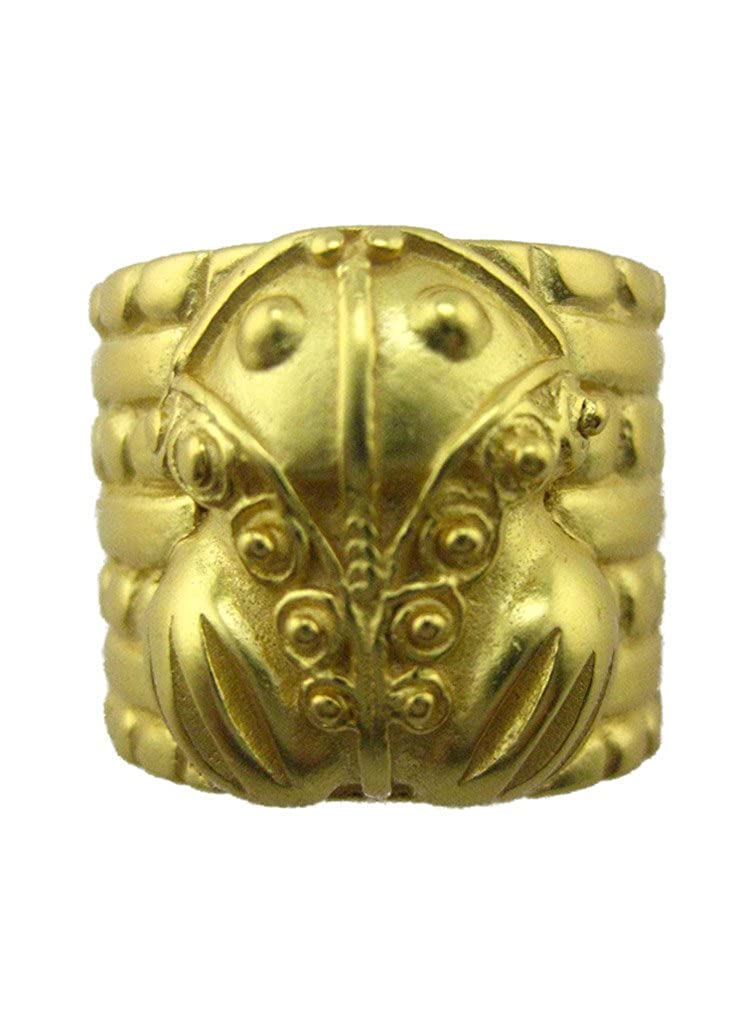 24k Gold Plated Pre-Columbian Tairona Embossed Frog 0.75 Scarf Ring Across The Puddle Historical Jewelry Collection