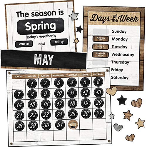 Schoolgirl Style Industrial Chic Bulletin Board Set, Calendar (110398) (Bright Bulletin Cd Boards)