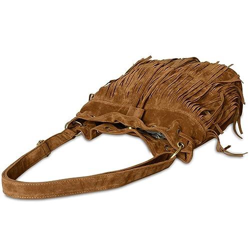 Landove sintética flecos borla Bolsos bandolera Retro Grande Lona hombro Crossbody bolsa Tote Carteras de mano marrón: Amazon.es: Zapatos y complementos