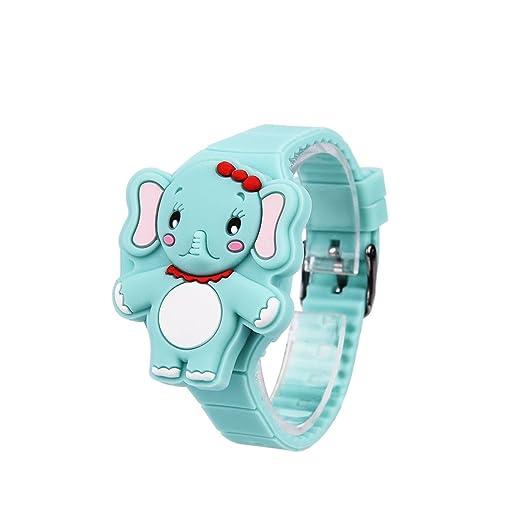 050e674b8ef3 Reloj de Niños Silicona de Moda Niños Dibujos Animados Animal Elefante LED  Pantalla Digital Electrónico Reloj